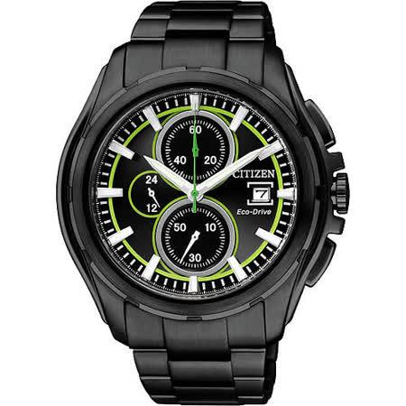 CITIZEN OXY 光動能爭霸傳奇計時腕錶(CA0275-55E)-IP黑