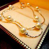 簡約復古韓版精緻雙層珍珠鍍金手鏈