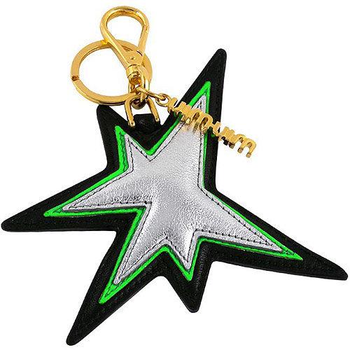 miu miu 銀色皮革星星造型鑰匙圈