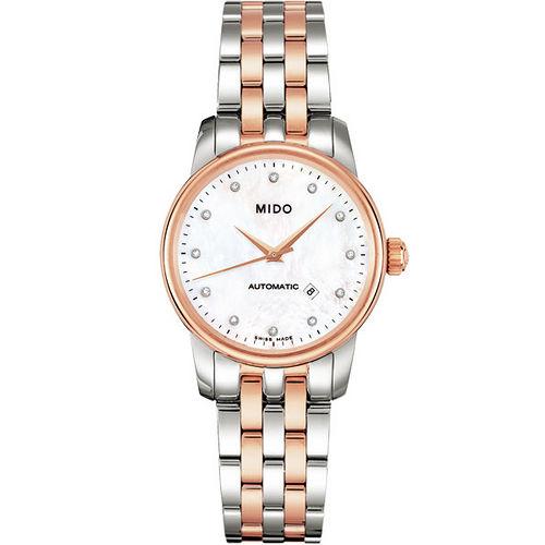 MIDO Baroncelli 典藏真鑽機械女錶(M76009691)-珍珠貝/半金