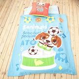 【罐頭寶貝】可愛刷毛四季毯冷氣毯幼教毯(藍色)-120x150cm