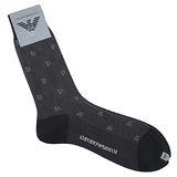 Emporio Armani 雙色鋸齒圖紋紳士襪-灰色