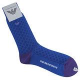 Emporio Armani 老鷹刺繡菱格休閒襪-藍紫