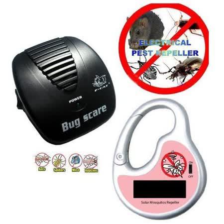 超值2入組★太陽能電子驅蚊器+黑貓全自動頻率掃描超音波驅鼠器/驅蟲器