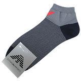 Emporio Armani 紅老鷹標誌條紋船型短襪-灰藍