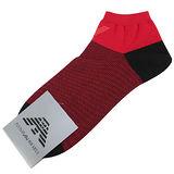 Emporio Armani 紅老鷹標誌條紋船型短襪-紅/黑