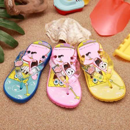 【童鞋城堡】海綿寶寶夾腳海灘拖鞋{台灣製造}SG1241