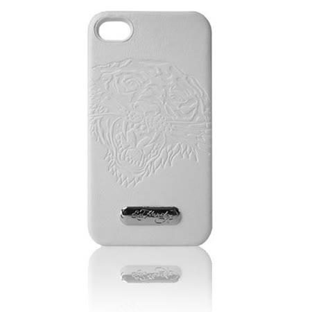 【ED Hrady】浮雕猛虎皮革背殼 Iphone 4G-白