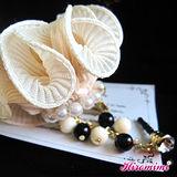 【Hiromimi】甜美珍珠花朵防塵塞吊飾-杏色