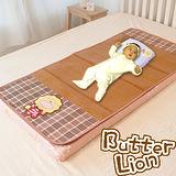 授權正品【奶油獅】MIT歡笑格紋嬰兒軟床專用紙纖涼蓆60*120CM
