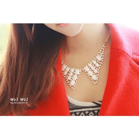 閃閃領結鏤空亮鑽寶石短項鏈
