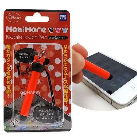 日本進口Disney【米妮大頭】伸縮式電容螢幕觸控筆吊飾(紅色)