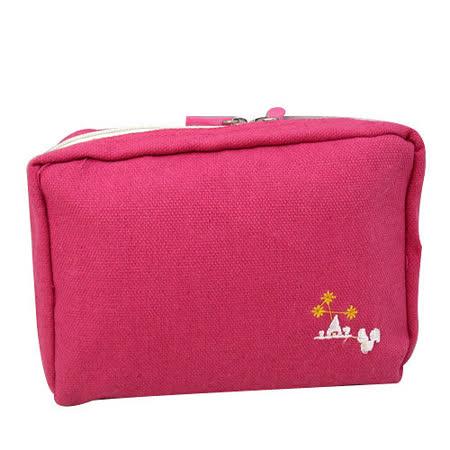 【iSFun】深粉色調*多層布面收納包