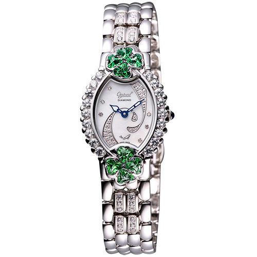 Ogival 閃耀幸運草真鑽腕錶(380-04DLW綠)-綠/銀/14×36mm