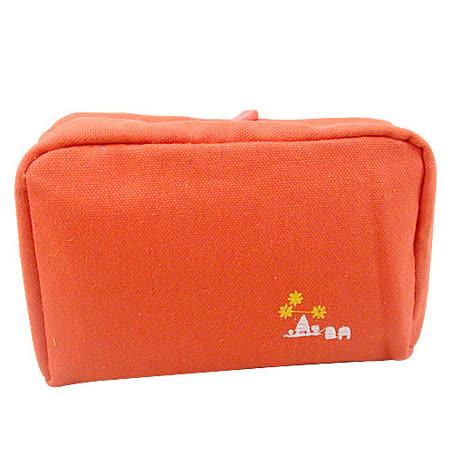 【iSFun】亮橘色調*多層布面收納包