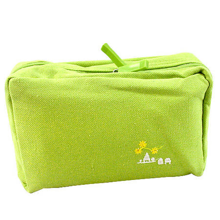 【iSFun】淺綠色調*多層布面收納包