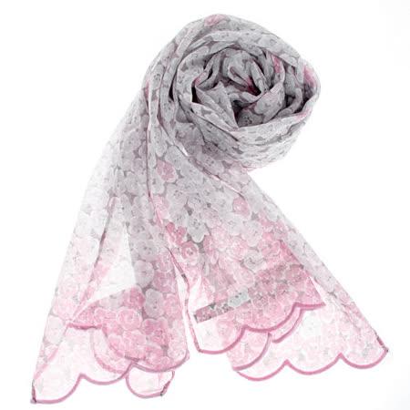YSL 法式碎花漸層薄棉抗UV圍巾-粉紅