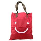 【iSFun】可愛笑臉*環保摺疊式收納購物袋/酒紅