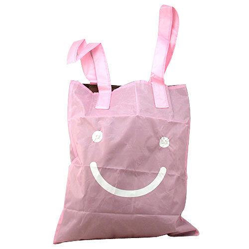【iSFun】可愛笑臉*環保摺疊式收納購物袋/暗粉