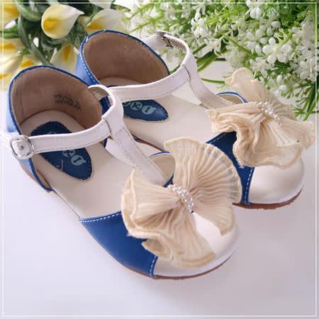 (購物車)魔法Baby蕾絲蝴蝶結甜美系童鞋~藍~時尚設計童鞋~s4679
