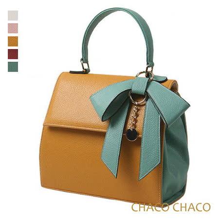 現貨【CHACO韓國】韓製Ribbon bag撞色蝴蝶結吊飾包 NO.2982 曼士達黃色