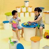 《甜甜圈》創意收納桌椅組(一桌2椅)