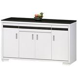 《顛覆設計》典雅純白5尺黑色石面餐櫃
