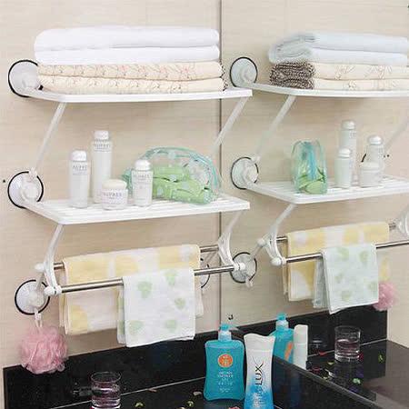 超實用廚房浴室雙層雙桿收納架/毛巾架/置物架(吸盤式)