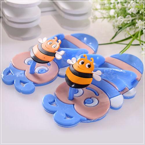 ^( 車^)魔法Baby^~可愛蜜蜂 拖鞋^(藍^)^~ 童鞋^~s5867