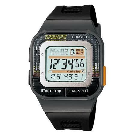 CASIO 輕巧亮麗慢跑用電子錶(黑)
