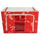 《自然風》可摺疊萬用鐵架衣物收納箱(66L)_紅