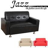 爵士時尚品味硬式雙人皮沙發(三色)