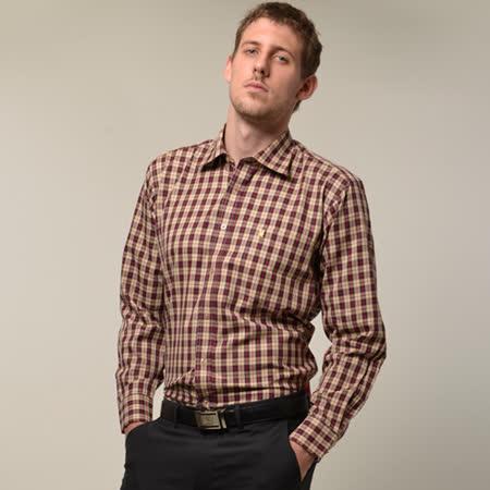 【金安德森】經典紅色小格紋窄版長袖襯衫