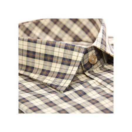 【金安德森】經典卡其色小格紋窄版長袖襯衫