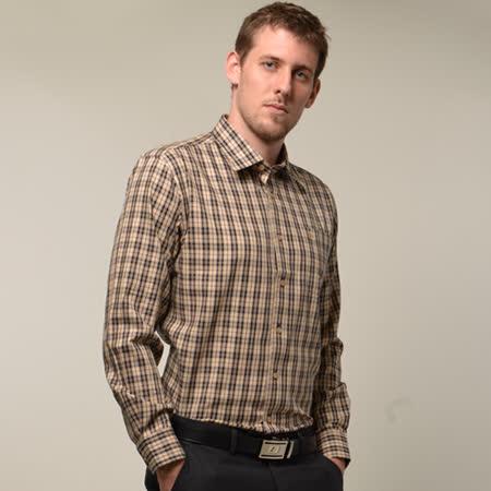 【金安德森】經典卡其色中格紋窄版長袖襯衫