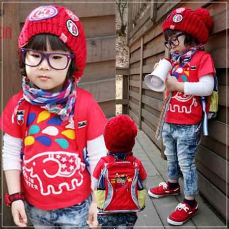 (購物車)魔法Baby ~韓版超Q動物款大象短袖潮T(紅)~時尚設計童裝~k20311
