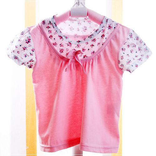 ^( 車^)魔法Baby ^~女童假兩件短袖上衣^(粉^)^~  ^~k20410