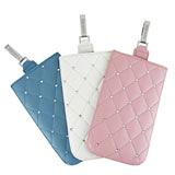 Miravivi 典雅菱格紋水鑽皮革直拉式手機袋