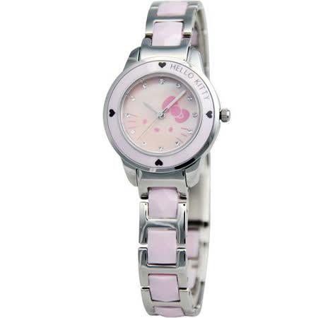 HELLO KITTY 甜心派對陶瓷腕錶(LK608LWPI)-粉