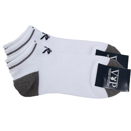 PLAYBOY 素面兔子LOGO船型短襪-白/灰(二入)