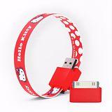 Mohzy USB 環狀傳輸線(附Apple轉接頭) - Kitty 紅底白點