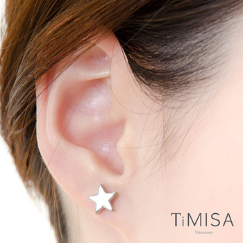 【TiMISA】迷你幸運星-玫瑰金 純鈦耳針一對