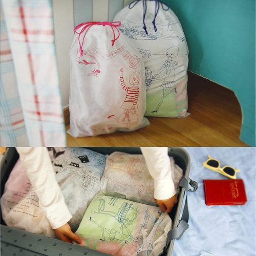 【iSFun】旅行專用*不織布愛 買 房屋束口袋/7入