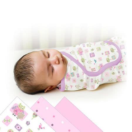 美國 Summer Infant SwaddleMe 可調式懶人包巾三入組【純棉薄款 - 甜蜜森林】, 小號