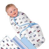 美國 Summer Infant SwaddleMe 可調式懶人包巾三入組【純棉薄款 - 交通工具】, 小號
