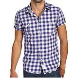 CK 2012胸袋格圖案短袖鈕扣襯衫【預購】