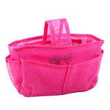 【iSFun】桃紅網狀*隨身多格包中袋