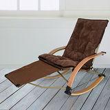 【LIFECODE】冬夏兩用曲木折疊躺椅/搖椅-附厚軟墊