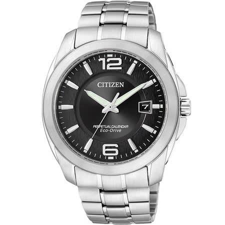 CITIZEN Eco-Drive 萬年曆紳士都會腕錶(BL1240-59E)-黑/銀/40mm