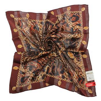 FERRE 豹紋底鎖鏈吊飾邊帕巾-駝色